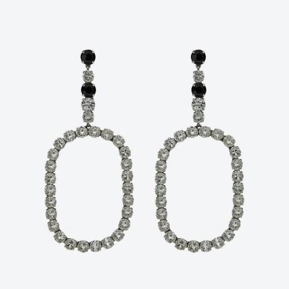 81b0bdbe427 Yves Saint Laurent Jewelry | Large Hoop Earrings Rhinestone | Poshmark
